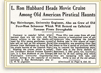 L. Ron Hubbard heads movie cruise of old pirate haunts