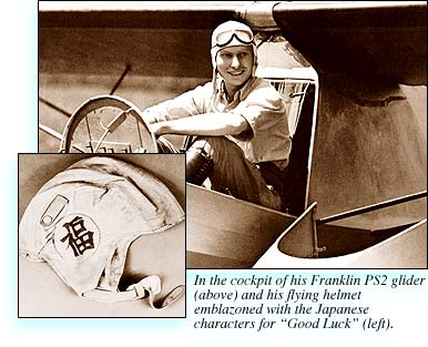 L. Ron Hubbard in the cockpit of his Franklin PS2 glider