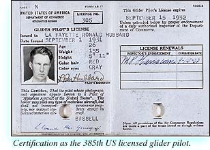 L. Ron Hubbard�s certificate as the 385th US licensed glider pilot